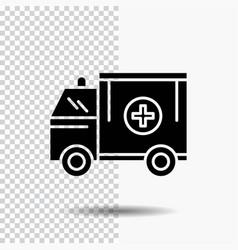 ambulance truck medical help van glyph icon on vector image