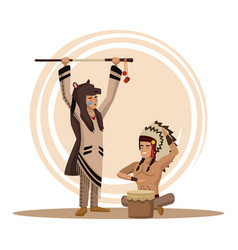 american indians cartoon vector image