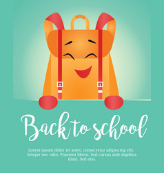 Back to school vertical background with backpack vector