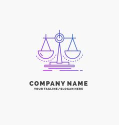 Balance decision justice law scale purple vector