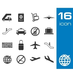 black airport icons set on white background vector image
