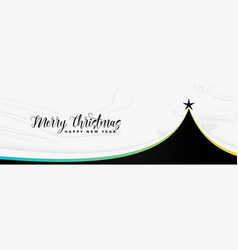 black christmas tree stylish banner vector image