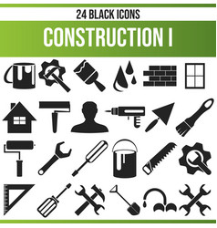 Black icon set construction i vector