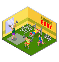 Body building workout isometric composition vector