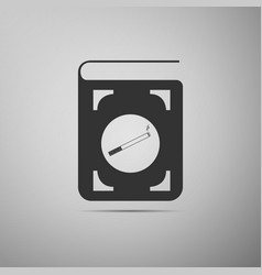 Book icon with cigarette flat icon on grey vector