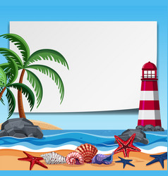 Border template with lighthouse and shells vector