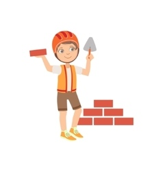 Boy Dressed As Construction Worker Laying Brick vector