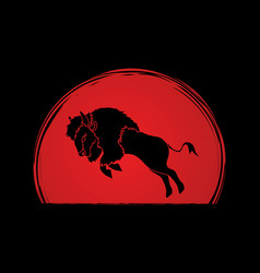 buffalo jumping graphic vector image