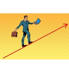 Businessman acrobat walking the wire graphics vector image