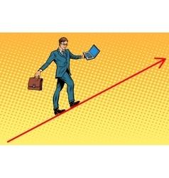 Businessman acrobat walking wire graphics vector