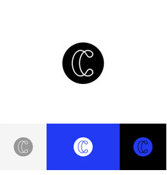 c with lines minimalism sign letter c vector image