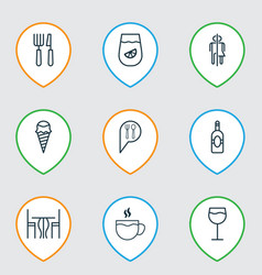 cafe icons set with wc wine table and other vector image