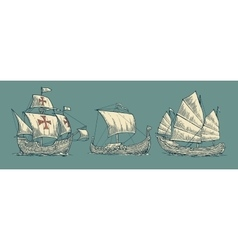 Caravel drakkar junk Set sailing ships floating vector