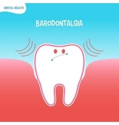 Cartoon bad tooth icon with baradontalgia vector