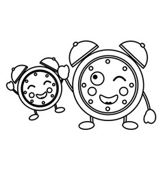cartoon kawaii two clock alarm time vector image