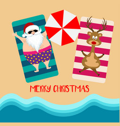 christmas card with santa and reindeer at beach vector image