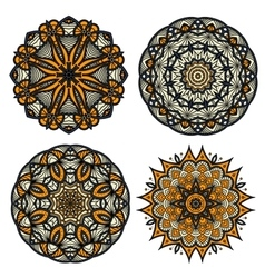 Circular patterns of abstract floral ornaments vector