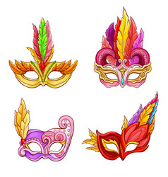 colombina masks with feathers cartoon set vector image