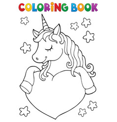 coloring book unicorn and heart 1 vector image