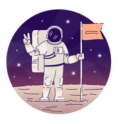 Cosmonaut placing flag on moon flat concept icon vector