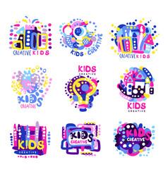 Creative kids set colorful logo graphic vector
