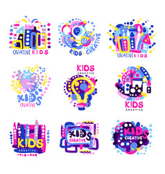 creative kids set of colorful logo graphic vector image