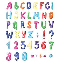 cute cartoon english coloured alphabet and set of vector image