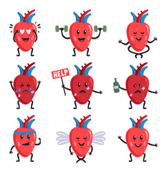 cute heart characters healthy and sick unhealthy vector image