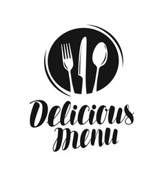 Delicious menu logo or label food restaurant vector