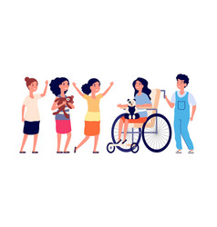 disabled child girl in wheelchair children group vector image
