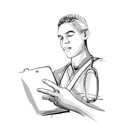 Doctor working sketch storyboard detailed vector