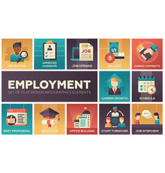 employment - set of flat design infographics vector image