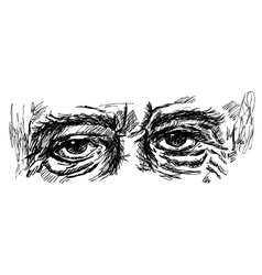 Eyes of old man with wrinkles vector