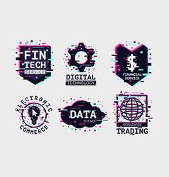 fintech emblem set e-commerce icon collection vector image