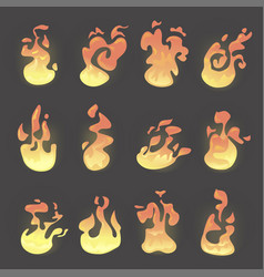 fire flame set vector image