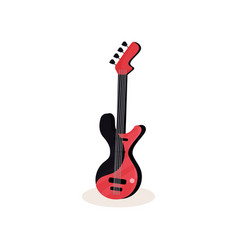 flat icon of black and red electric guitar vector image