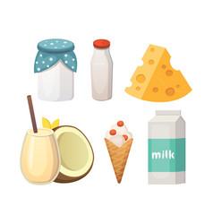 Fresh organic milk products set vector