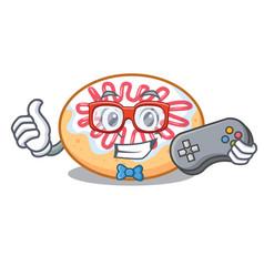 Gamer jelly donut mascot cartoon vector