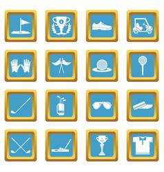 golf icons set sapphirine square vector image