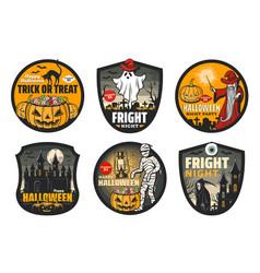 halloween badges mummy ghost pumpkin bats vector image