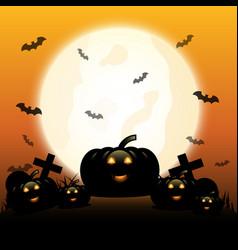 Halloween night with pumpkins under moonlight vector