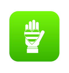 hand holding heart of lgbt icon digital green vector image