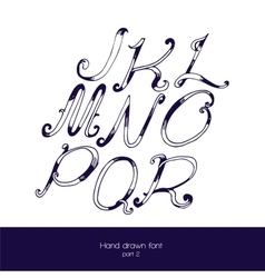 Handdrawn font in navy blue and white vector image