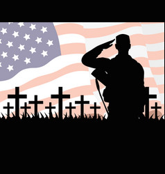 Happy veterans day celebration card with soldier vector