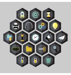 Hexagon business icons vector