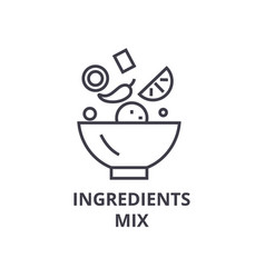 Ingredients mix line icon outline sign linear vector