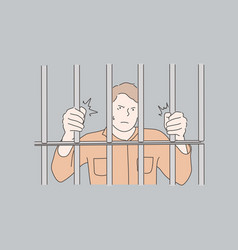 Jail prisoner crime concept vector