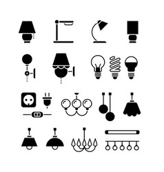 lamp light bulbs and electrical equipment vector image vector image