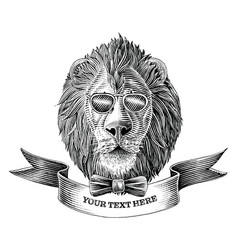 lion head logo with banner hand draw vintage vector image