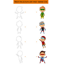 match the picture set of character superhero kids vector image